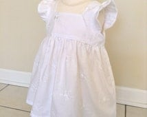 White Baby Dress, Flutter Sleeve Dress, White Cotton Dress, White Embroidered Dress, Baby Panties,  3-6 Mo, 6-12 Mo, 12-18 Mo, 2-3T