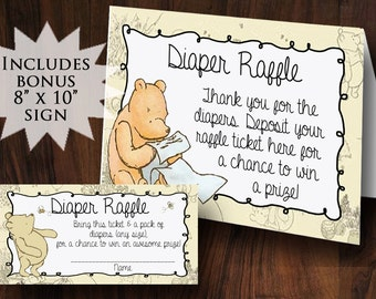 Winnie the Pooh Diaper Raffle Tickets ~ INSTANT DOWNLOAD