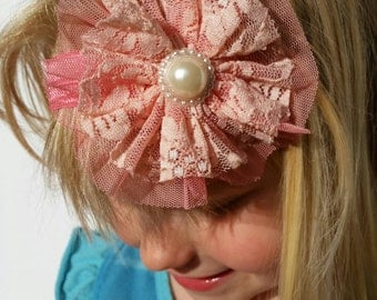 Baby girl Headband, Lace headband, Shabby Chic headband, flower headband, infant headband, girls headband, baby shower gift, pink flower