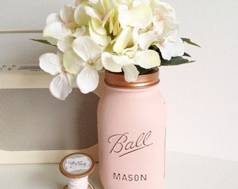 Ball mason jar pink & copper vase / wedding party decor m