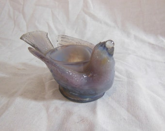 Vintage Degenhart Glass Bird w Berry Open Salt Cellar Pale Lavender- Signed