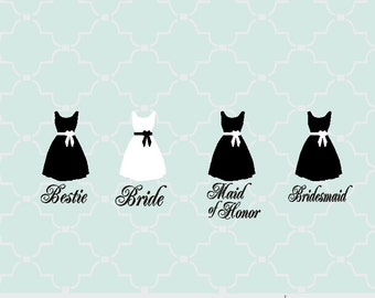 SVG wedding bridesmaid dress with titles digital file PNG EPS