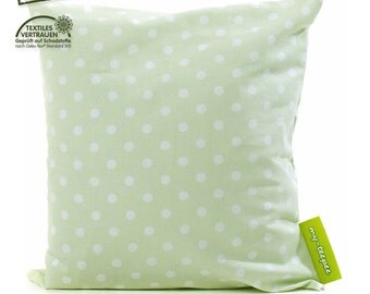 my-teepee soft cushion, green  with white dots, cover 100% cotton Oekotex 100, size ca. 40 x 40 cm, made in Germany