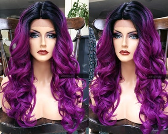 "U.S.A. // 20"" Long Dark Purple HEAT SAFE Curly Lace Front Wig w/ Skin Part & Wavy Ombre Black Dark Roots"
