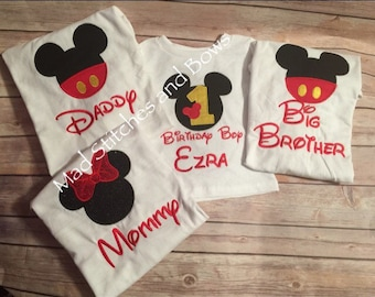 Custom embroidered Mickey and Minnie mouse family birthday set