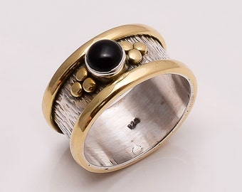 925 Solid Sterling Fine Silver Copper-Brass Black Onyx  Ring