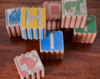 Bricks Retro Wooden Alphabet  1950s