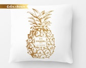 Chanel inspired Pineapple fashion cushion 18x18 inc Gold Pineapple Chanel Chanel no 5 Coco chanel Chanel Pineapple Pillow decor tropical
