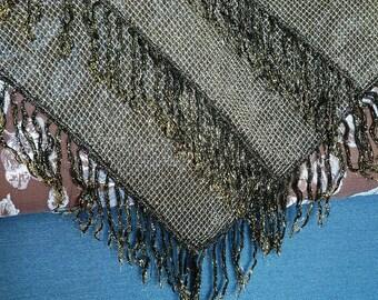 SALE Unusual Triangle Shawl with Three Levels of Fringe Vintage Black Golden Fringe Shawl Boho Gypsy Scarf Wrap Shining Shawl Women