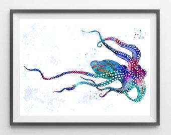 Octopus Watercolor Print sea life art Ocean life Illustration Octopus poster octopus illustration sea art octopus wall decor gift [66]