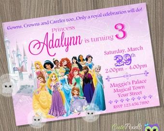 Disney Princess Invitation, Princess Birthday Invitation, Disney Princess Party, Princess Invitation, Disney Princess, Princess Birthday
