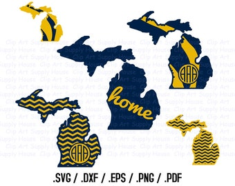 Michigan SVG, Wolverines SVG Files, Michigan Vector State Outline, DXF File, Cricut Design Space, Silhouette Digital Cut Files - CA206