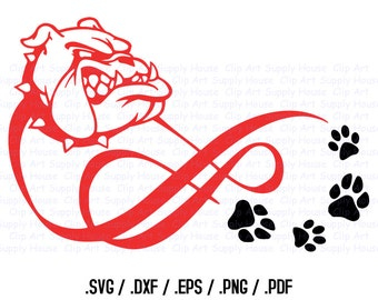 Bulldog Puppy, Love Infinity Puppy Clipart, Veterinary Office Art, Animal SVG File, Silhouette Studio, Cricut Design, Brother Scan - CA108