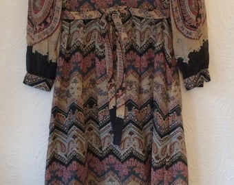 Vintage 70s Kati at Laura Phillips Paisley Maxi Dress Small