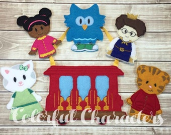 Neighborhood Tiger and friends, Daniel finger puppets, pretend play, felt toys, embroidered, finger puppet set, made to order