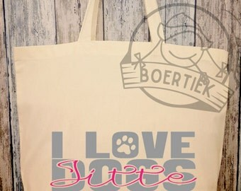 Cotton bag, I love dogs, personalised with name of the dog