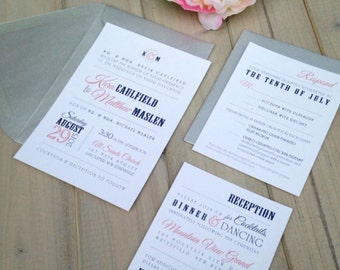 Navy and Coral Wedding Invitations, Modern Wedding Invitations, Blue and Silver Wedding Invitations, Coral Wedding Invitations