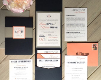 Navy, Gray and Coral Wedding Invitations, Modern Wedding Invitations, Blue and Gray Wedding Invitations, Navy and Coral Pocket Invitations
