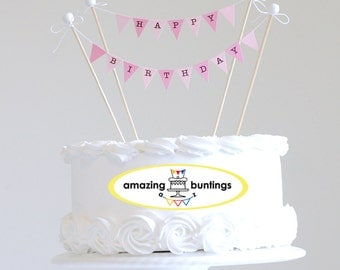 Happy Birthday Cake Bunting Topper, Pink Pastel.Smash Cake Topper, Photo props.