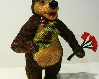 "Pattern / Tutorial Beaded Ornament -  Master Class "" Bear on a date ,"" Beaded"