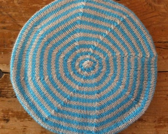 Hand knitted child's turquoise & pale grey stripe beret, traditional style