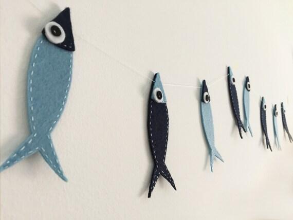Fisch filz girlande kinderzimmer dekoration sardine von artifanhas