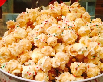 Mary V's White Chocolate Caramel Corn Sesonal Holiday Bucket