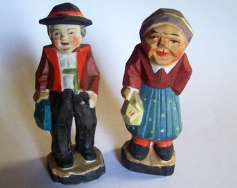 Old Made in Japan Porcelain Figurines - Colorfully Painted Man and Woman - Look Like Wood Carvings