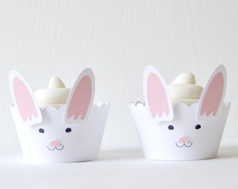 Bunny Cupcake Wrappers Set of 12: Ruffled cut wrappers with attached ears and nose, make cupcakes look like rabbits, by the dozen - LRD003CW