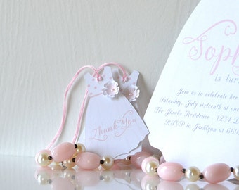 Sun Dress Tags: hanging favors, pink and white, floral gown, little girl, baby shower, baptism, first communion, wedding- LRD022TG