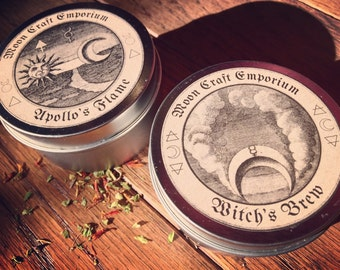 Scented Travel Candles - Witch's Brew and Apollo's Flame ~ occult ~ vegan ~witchy
