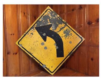 Vintage Left Curve Arrow Road Sign Vintage Road Signs Vintage Metal Road Sign Vintage Arrow Sign
