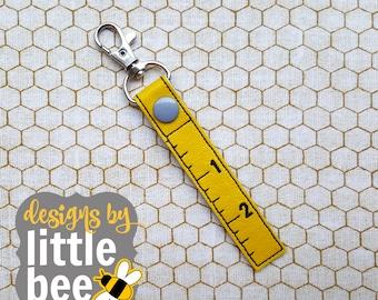 ruler measuring teacher or handyman snap tab key fob keychain applique embroidery digital file design