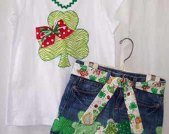 Custom boutique girls St. Patrick's Day skirt & shirt set most sizes available