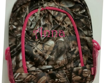 Monogram Backpack Camouflage with Pink Accents   Pink Trim Camouflage Backpack