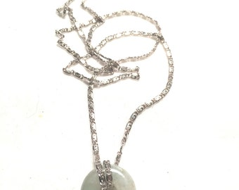 NYC sterling 925 silver necklace with jade pendent