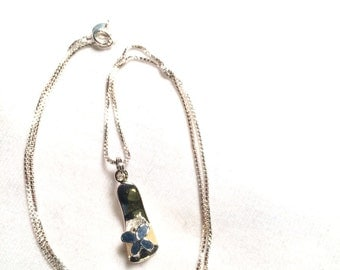 925 sterling silver necklace with flower shoe pendant