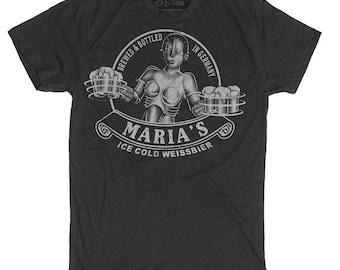 Maria Shirt - Maria Metropolis Robot Shirt - Beer Shirt  - Men's Craft Beer Shirt - Maria Robot Hand Screen Printed on a Mens T-Shirt