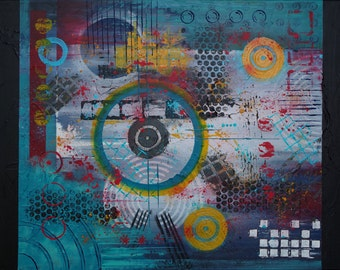 Abstract painting modern contemporary - Ibiza 1972 - 50cm X 70cm
