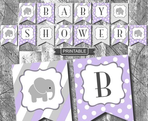lavender purple elephant girl baby shower decorations banner digital