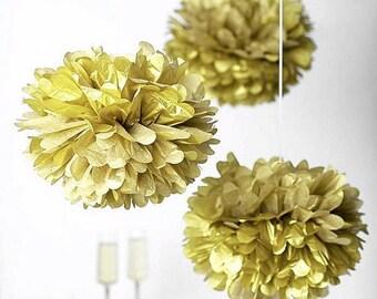 "3 XL Metallic Gold  - 14"" Tissue Paper Pom Pom Set| Wedding, Birthday, Bridal Shower, Home Decor, Nursery & Party"