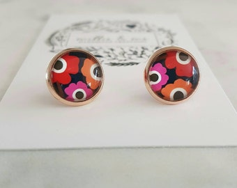 Floral glass cabochon rose gold stud earrings