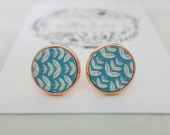 SALE Rose gold and wooden disc stud earrings