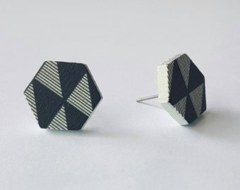SALE Wooden stud earrings.