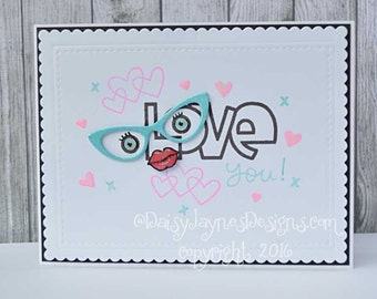 Handmade Greetings card, Love you!, love/valentine's card