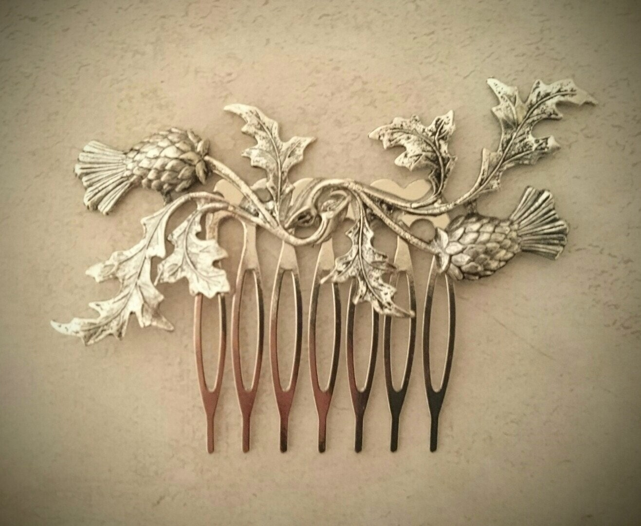 silver scottish thistle hair comb leaf hair comb branch hair