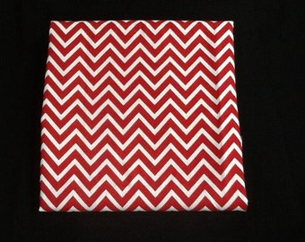 Red and White Chevron Print Pillow Cover