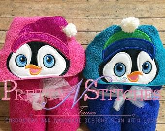Boy and Girl Penguin Applique Embroidery Design (5X7 Hoop) Girl's hat is 3D