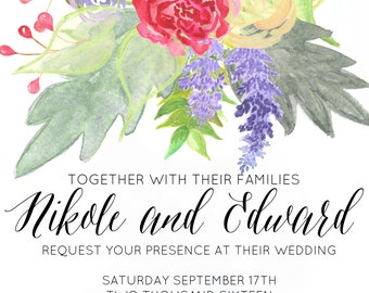 Floral Wedding Invite Set *digital*
