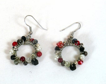 Red and Black Wire-wrapped Earrings, Free Shipping